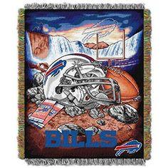 NFL Bills Throw Blanket 48 X 60 Football Themed Bedding Sports Patterned Team Logo Fan Merchandise Athletic Team Spirit Fan Nautical Blue Red Polyester