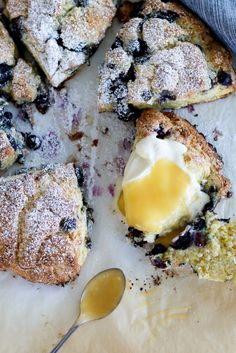 Flaky, buttery, crusty-edged Lemon & Blueberry Scones with sweet-tart lemon curd and tangy buttermilk whipped cream. Pastry Recipes, Baking Recipes, Dessert Recipes, Blueberry Scones, Best Breakfast Recipes, Sweet Tarts, Lemon Curd, Brownie Recipes, Tray Bakes