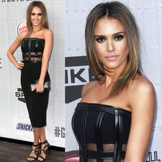 Jessica Alba at Spike TV's Guys' Choice Awards 2014 wearing a black David Koma Fall 2014 strapless dress