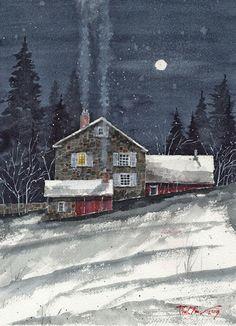 Winter Smoke by Tim Oliver Watercolor ~ x Nocturne, Watercolor Landscape, Watercolor Paintings, Watercolors, Watercolor Projects, Illustrations, Illustration Art, Winter Scenery, Snow Scenes