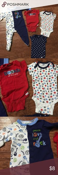 Bundle of 3-6 months baby boy clothing 1 long sleeve footsie pajama. 3 short sleeve onesies. All are 3-6 months size. 4 items total.  Various brands. No holes or stains. Check out the other listings in my closet for baby boy clothing. One Pieces Bodysuits