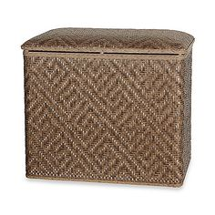 Wicker hamper with hinged lid will lend a traditional look to your bathroom. It's snag-proof and easy to clean with a damp cloth. Wedding Gift Registry, Wedding Gifts, Wicker Hamper, Laundry Hamper, Traditional Looks, Bedding Shop, Fine China, Drapery, Bench