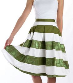 Lucky Stripes Shimmer Skirt - directions from Joann, Butterick pattern #5285, uses Tulip shimmer fabric paint on green stripes once assembled.
