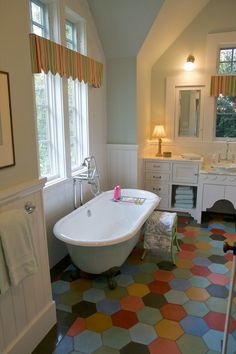 """Creating """"Happy Rooms:"""" A Colorful Farmhouse in the City @Nancie Quinton  - this bathroom made me think of you!"""