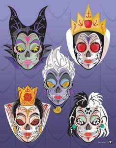 This art print from Esty seller NutCracks features villains from Disney movies illustrated as Day of the Dead sugar skulls! You see here Maleficent, Ursula, Cruela, the Queen of Hearts, and Snow White's stepmother the Evil Queen. Each character is also available in separate prints. Link -via Daily of the Day...
