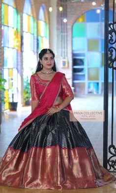 Lehenga Designs, Kerala Saree Blouse Designs, Half Saree Designs, Lehenga Saree Design, Half Saree Lehenga, Lehnga Dress, Floral Lehenga, Indian Lehenga, Half Saree Function