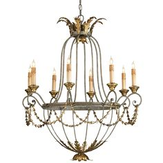 rubbed black and old gold chandelier