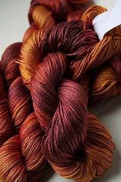 Artyarns Silk Pearl Knitting Yarn Autumnal is a chain-plied yarn with a crisp, linen-like finish - handpainted, in SILK! Yarn Thread, Yarn Stash, Crochet Yarn, Knitting Yarn, Yarn Color Combinations, Yarn Inspiration, Spinning Yarn, Crochet Stitches Patterns, Yarn Projects