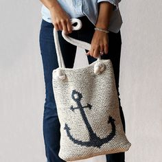 The perfect crochet summer bag for trips to the market, beach, or pool! This digital crochet pattern includes instructions for the reversible anchor tote AND the crocheted rope handles. You can even modify the pattern to make a nautical pillow/cushion cover for the cottage.