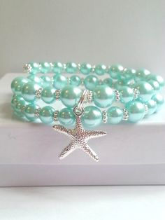 Sea Witch: #Sea #Witch ~ Sea-foam pearls and starfish bracelet.
