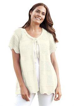 cd6176c0b93 Plus Size Short sleeve crochet knit cardigan Women s Plus Size Shorts