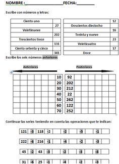 Seriaciones de números hasta el 99. 1º primaria