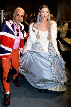 Kate Moss with John Galliano, modeling his 1994 summer collection.