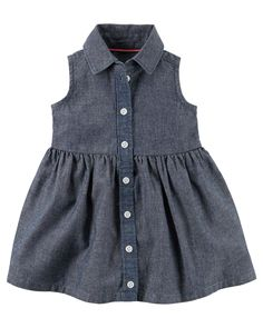 Carters Infant Girls Chambray Shirt Dress with Diaper Cover NWT denim-look Baby Outfits, Baby Girl Dresses, Toddler Outfits, Baby Dress, Cute Dresses, Kids Outfits, Dress Set, Chambray Dress, Girl Clothing