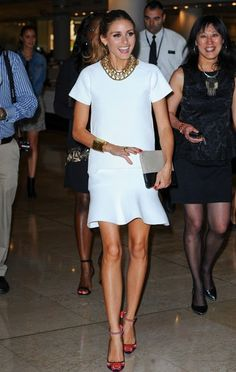 OP - White Dress. Gold necklace. Colored heals.