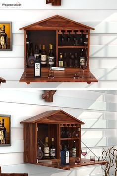 Hansvon house. Sporting a house-like structure, Hansvon wine rack is perfect for all the small spaces. Being drawn out, it serves you enough space to store your collection while being pulled back, it will form back the house shape.  #woodenstreet #furniture #furniturebondedwithlove #MakeinIndia #barcabinets #india #bartrolleys #winedine #winestorage #winelover #barfurniture #DecorInspiration #HomeInteriors Bar Furniture, Living Room Furniture, Teak, Wooden Street, Wine Storage, Wine Rack, Liquor Cabinet, Small Spaces, New Homes