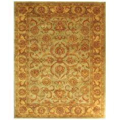 Handmade Heritage Kermansha Green/ Gold Wool Rug (9' x 12') | Overstock™ Shopping - Great Deals on Safavieh 7x9 - 10x14 Rugs