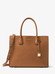 MICHAEL KORS Mercer Large Leather Tote. #michaelkors #bags #canvas #tote #leather #lining #polyester #shoulder bags #hand bags #