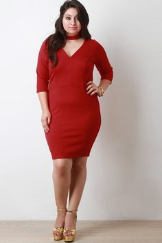 Choker V Neck Quarter Sleeves Bodycon Dress