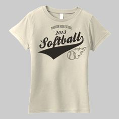 Custom Softball Organic Shirt Personalize with school name and year.