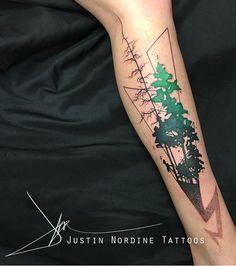 Justin Nordine Watercolor tree tattoo