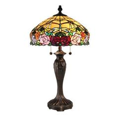 """Dale Tiffany Zenia Rose 27"""" H Table Lamp with Bowl Shade"""