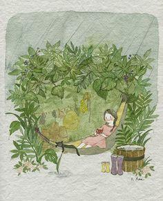 Risultati immagini per read book outside with friend art Cute Drawings, Cartoon Drawings, Korean Artist, Whimsical Art, Cute Illustration, Cat Art, Illustrations Posters, Watercolor Art, Fantasy Art