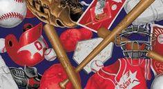 Sports Fabric, Baseball Fabric, Batter Up! Baseball Equipment 7143