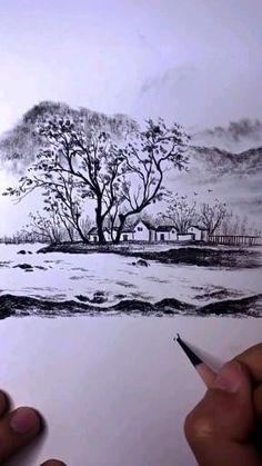 Landscape Pencil Drawings, Cool Pencil Drawings, Art Drawings Sketches Simple, Nature Sketches Pencil, Art Drawings Beautiful, Diy Canvas Art, Watercolor Art, Village Drawing, Sketching