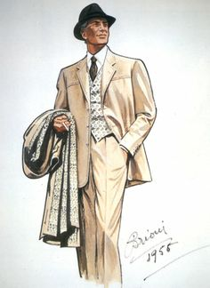 A sketch from Brioni Archives, Italy. Brioni is an Italian fashion house founded in 1945 that specializes in the sale. Mode Masculine Vintage, Vintage Gentleman, Der Gentleman, Mode Vintage, Vintage Men, Gentleman Style, 1950s Fashion Menswear, Mens Fashion Suits, 1940s Fashion