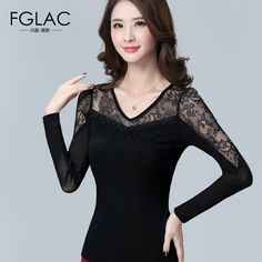 Aliexpress.com : Buy Elegant Slim Lace shirt Plus size women clothing blusas New 2016 Autumn Women tops Sexy Hollow out Mesh blouses Long sleeved from Reliable clothing clip suppliers on Both Dream