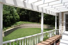 Deck & Pergola with benches on one section