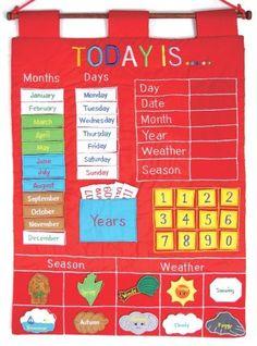 Today Is Children's Calendar Wall Chart by Alma's Design - Red Preschool Calendar, Diy Calendar, Printable Calendar Template, Toddler Calendar, Calendar Activities, Classroom Calendar, Free Printables, Fun Learning, Learning Activities
