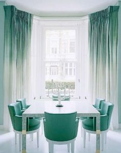 Spectacular mint green ombré drapery for the dining room . . .