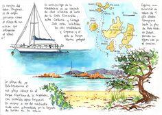 Sardinia32   Joaquin Gonzalez Dorao Travel Journal Pages, Art Journal Pages, Art Journals, Travel Journals, Travel Books, Bullet Journal Voyage, Bullet Journal Travel, Voyage Sketchbook, Travel Sketchbook