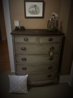 I made my own chalk paint to restore this dresser.  Top is Jacobean stain.  For more see my eloise & ivy Facebook page.