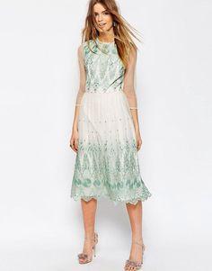 ASOS PREMIUM Mesh Midi Dress With Green Embroidery