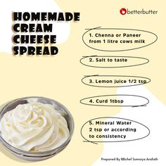 Craving your favorite cheese-filled snacks? Spread out your own homemade cream cheese with BetterButter! This recipe is life-saver when you're aching for your favorite sandwich or burger. Paneer Cheese, Better Butter, Cream Cheese Spreads, Veggie Stir Fry, Blueberry Pancakes, Cheese Lover, Juice Drinks, Creamy Pasta, International Recipes