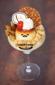 Gudetama caramel flan (*^o^*) Singapore Lazy Egg, Kawaii Dessert, Cute Desserts, Cafe Food, Japanese Sweets, Aesthetic Food, Miniature Food, Creative Food, Food Art