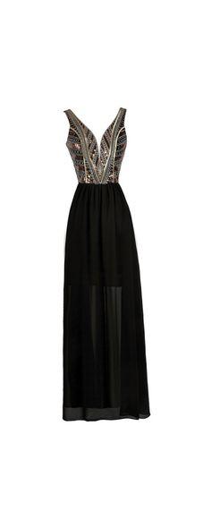 Lily Boutique Gold Plated Embellished Black Maxi Dress, $56 Black Embellished Maxi Dress, Cute Maxi Dress, Black Beaded Prom Dress, Black Formal Dress www.lilyboutique.com