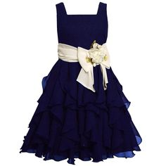 Size-10 BNJ-5218B NAVY-BLUE WHITE VERTICAL CASCADE CHIFFON Special Occasion Wedding Flower Girl Pageant Party Dress,B45218 Bonnie Jean TWEEN GIRLS