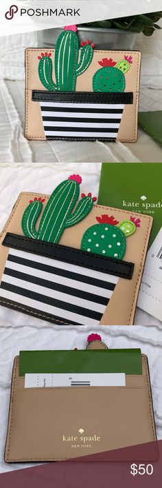 """Kate Spade New Horizons Card Holder Adorable Kate spade cactus card holder from the New Horizons line. Made of leather, it features 3 credit card pockets in the back, 1 in the front (cactus pot), gold foil accents on the cacti, capital Kate jacquard lining, and gold embossed kate spade New York signature.  Measurements are approximately 4""""L x 3.25""""H - 4.25""""H at highest point. kate spade Accessories Key & Card Holders"""