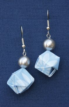 Blue Origami Box Earrings by BugTaxi on Etsy, $7.00 valentines day!