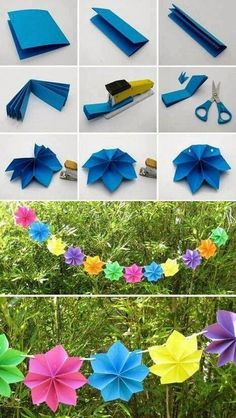 "iluvdiy: "" Creative DIY Paper Party Decorations Here are some Creative DIY Paper Party Decorations which are a really great way to add some color to some of the duller spaces you might have around the house. These are also a really great idea for a. Paper Party Decorations, Diy Birthday Decorations, Flower Decorations, Homemade Party Decorations, Hawaiian Theme Party Decorations, Birthday Party Decorations Diy, Summer Party Decorations, Luau Theme, Hanging Decorations"
