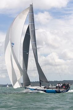 The TP52 yacht 'Five Degrees North' racing in the Solent during Cowes Week 2013.