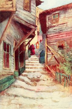 "'A Step Street' from ""Constantinople painted by Warwick Goble"" (1906)"