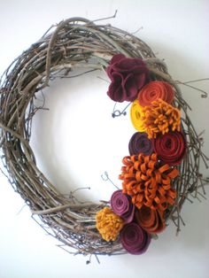 fall flower wreath, fall home decor, Thanksgiving wreath, autumn grapevine wreath, felt flower wreath