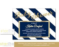 Unique and impressing Navy Blue and Gold Baby Shower Invitation featuring navy and white stripes with simulated Gold Glitter. CHOICE OF DIGITAL FILE (you print option) OR PRINTED PACKAGE, $20