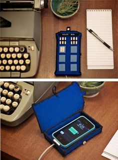 DIY: Tardis phone charger OMGOMGOMGYESYESYES also look at that typewriter oooh