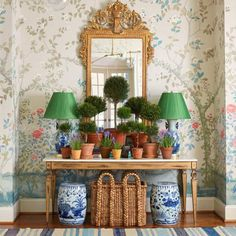 Caroline Gidiere Schumacher Madame de Pompadour wallpaper Chinoiserie Alabaster blue and white porcelain topiaries topiary collection - The Glam Pad Blue And White Lamp, White Lamps, Yellow Lamps, Chinese Lamps, Grand Art, Chinoiserie Wallpaper, Chinese Garden, White Gardens, White Houses